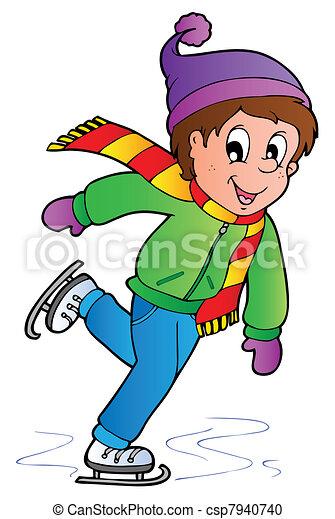 Cartoon skating boy - csp7940740