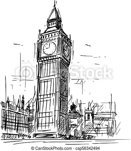 Cartoon Sketch Of Big Ben Clock Tower In London England United