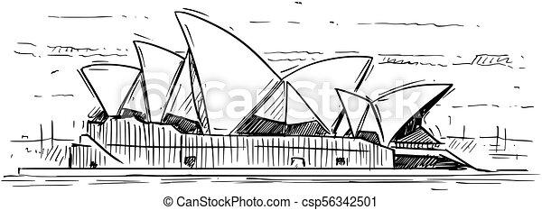 Cartoon Sketch of Sydney opera House, Australia - csp56342501