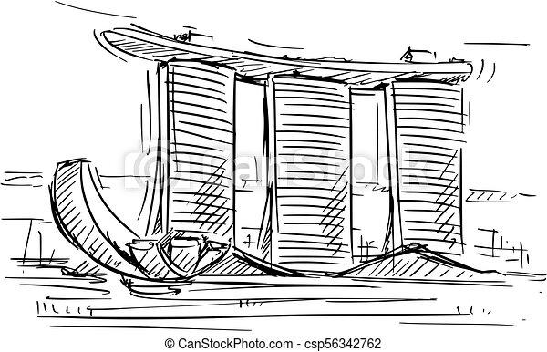 Cartoon Sketch Of The Marina Bay Sand Singapore Cartoon