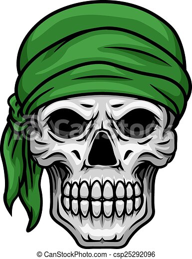 Cartoon skull in green bandana - csp25292096