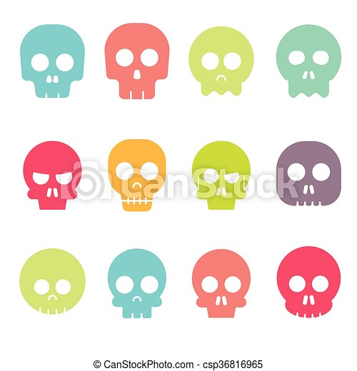 Cartoon skull vector icon set - csp36816965