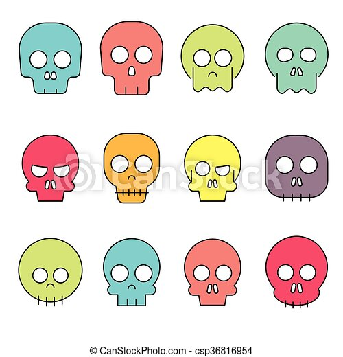 Cartoon skull vector icon set - csp36816954