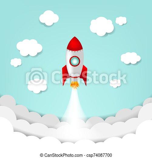 Cartoon Sky With Rocket And Cloud - csp74087700