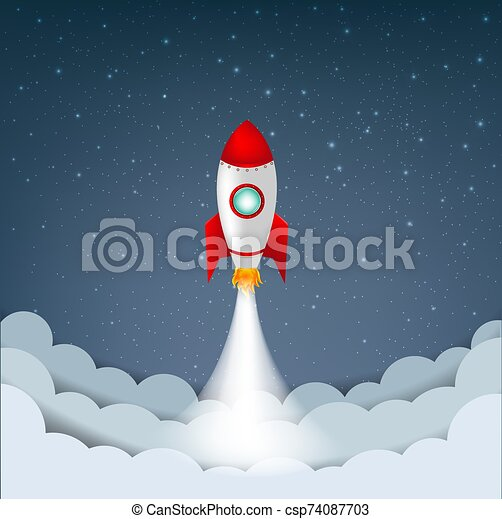 Cartoon Sky With Stars And Cloud And Rocket - csp74087703