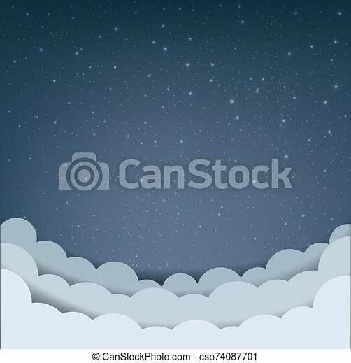 Cartoon Sky With Stars And Cloud - csp74087701