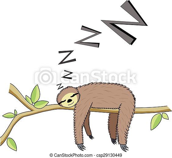 Cartoon sleeping sloth - csp29130449