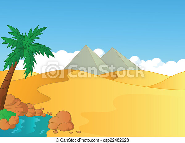 Cartoon small oasis in the desert  - csp22482628