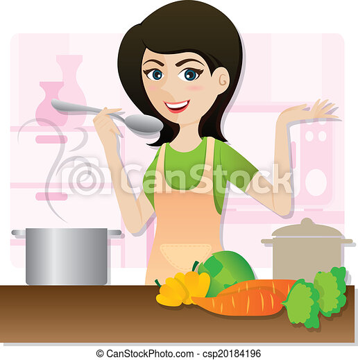 cartoon smart girl cooking vegetarian soup in kitchen - csp20184196
