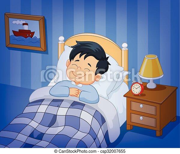 Vector illustration of cartoon smile little boy sleeping