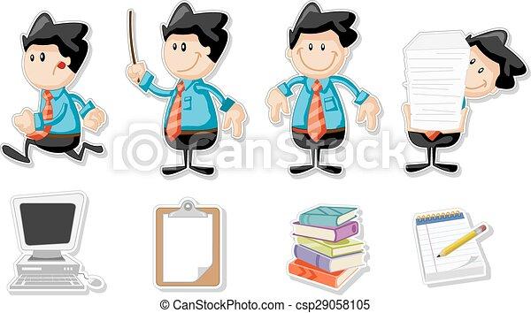 cartoon, smile mand, firma - csp29058105