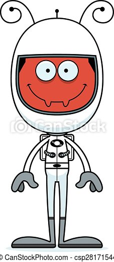 Cartoon Smiling Astronaut Ant - csp28171544