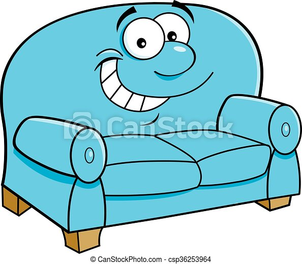 Cartoon Smiling Couch Cartoon Illustration Of A Smiling Couch