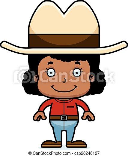 cartoon smiling cowboy girl a cartoon cowboy girl smiling vector rh canstockphoto com cowboy cowgirl clipart girl cowboy boot clipart