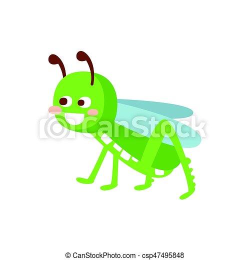Cartoon smiling grasshopper colorful character vector Illustration - csp47495848