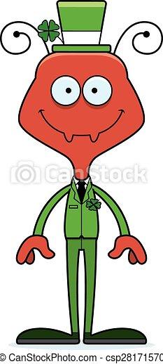 Cartoon Smiling Irish Ant - csp28171570