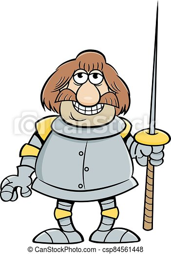 Cartoon smiling knight holding a lance. - csp84561448