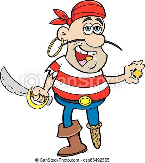 Cartoon smiling pirate holding a cutlass and a gold coin. - csp85492555