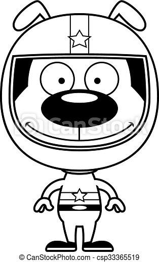 Cartoon Smiling Race Car Driver Puppy A Cartoon Race Car Driver
