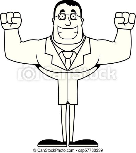 Cartoon Smiling Scientist - csp57788339