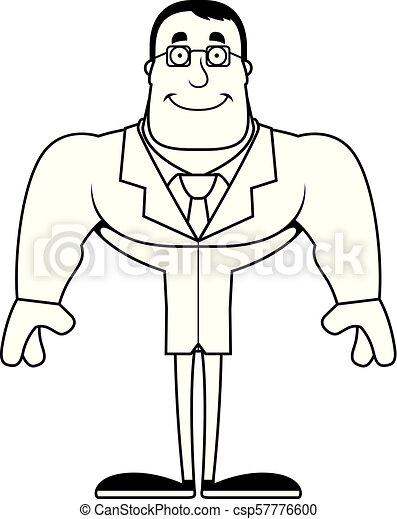 Cartoon Smiling Scientist - csp57776600