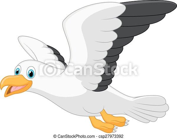 Cartoon smiling seagull - csp27973392