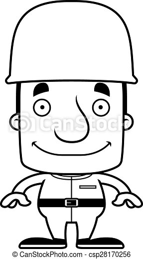 Cartoon Smiling Soldier Man - csp28170256