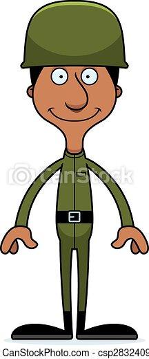 Cartoon Smiling Soldier Man - csp28324090