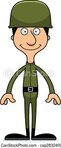 Cartoon Smiling Soldier Man - csp28324093