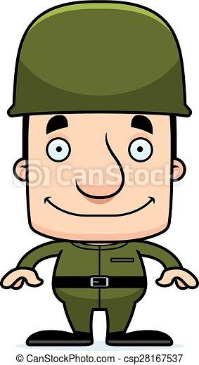 Cartoon Smiling Soldier Man - csp28167537