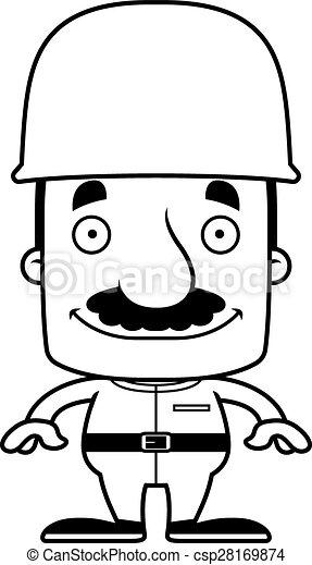 Cartoon Smiling Soldier Man - csp28169874