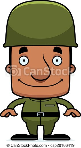 Cartoon Smiling Soldier Man - csp28166419