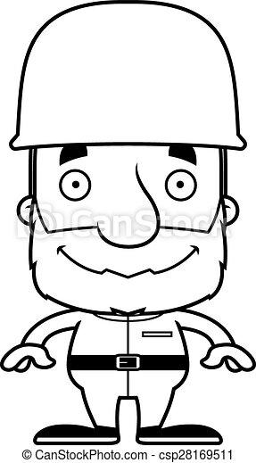 Cartoon Smiling Soldier Man - csp28169511