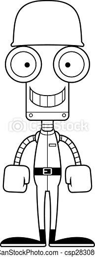 Cartoon Smiling Soldier Robot - csp28308033