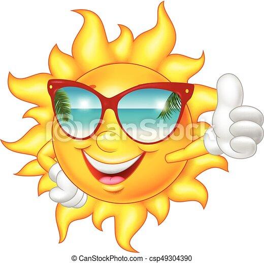 Cartoon smiling sun giving thumb up - csp49304390