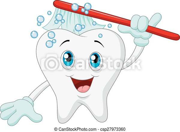 Cartoon Smiling tooth with toothbru - csp27973360