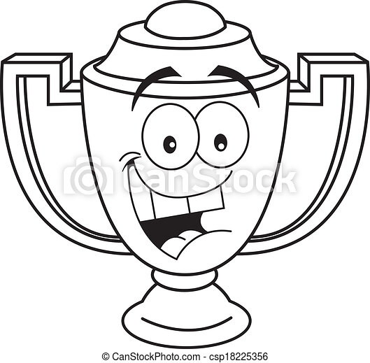 Cartoon Smiling Trophy Cup Black And White Illustration Of A