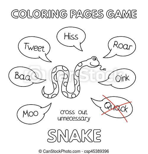 Cartoon snake coloring book. Funny snake kids learning game.... eps ...
