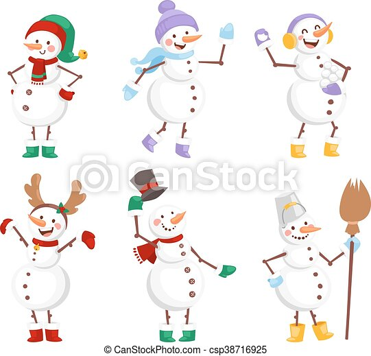 Cartoon snowman character - csp38716925