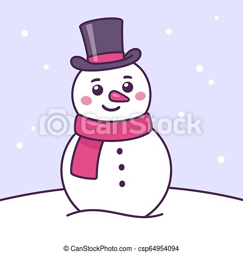 Cute Christmas Pictures.Cartoon Snowman Drawing