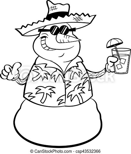 Cartoon snowman wearing a straw hat and holding a tropical drink. - csp43532366