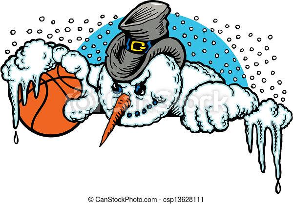 Cartoon snowman with a basketball.