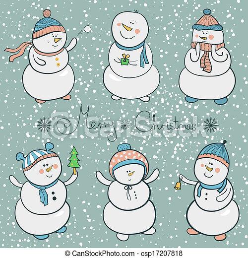 Cartoon snowmen set, christmas illustration - csp17207818