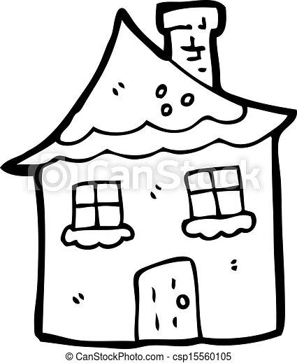 cartoon snowy cottage - csp15560105