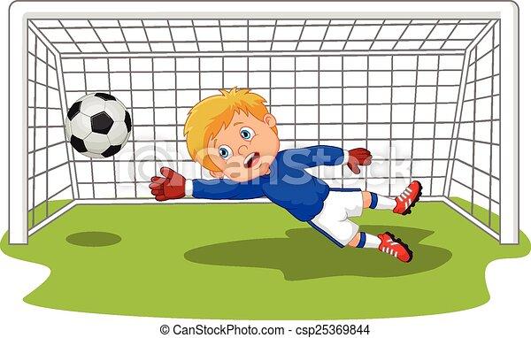Cartoon Soccer football goalie keep - csp25369844