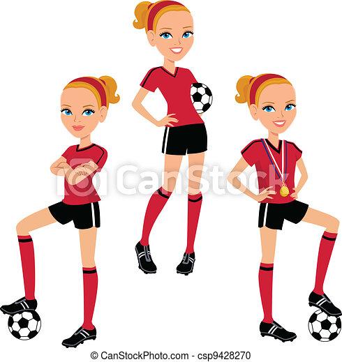 Cartoon Soccer Girl 3 Poses - csp9428270