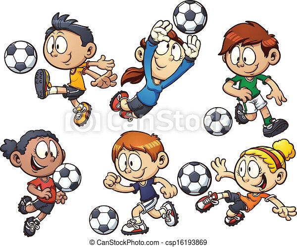 cartoon soccer kids csp16193869