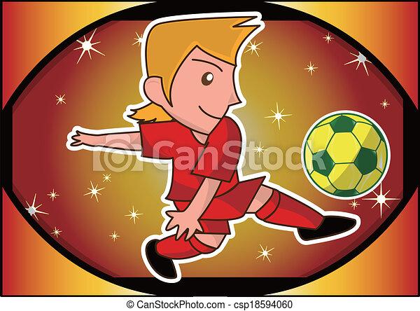 cartoon soccer player - csp18594060
