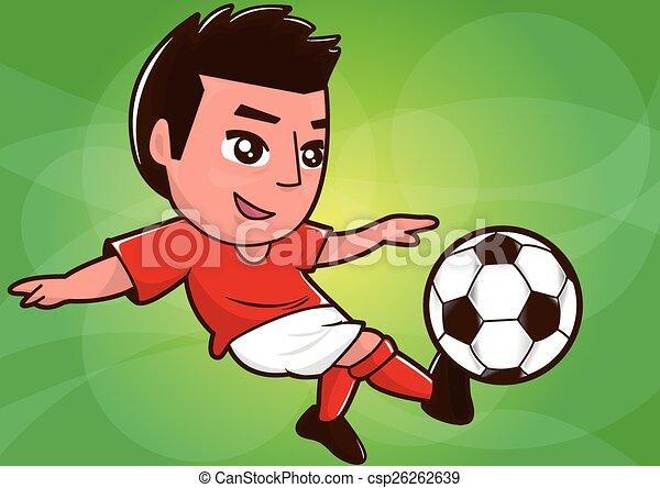cartoon soccer player kicking ball - csp26262639