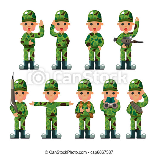 cartoon Soldier icons set - csp6867537